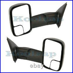 02-08 Ram 1500 & 03-09 2500 3500 Truck Manual Towing Door Mirror Black SET PAIR