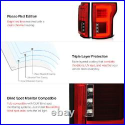 15-20 Ford F150 withBLIS Red Full LED Bar Tail Lamp Clear License Plate Tag Light
