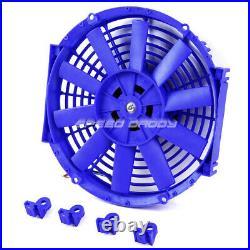 3-row Full Aluminum Radiator+14 Blue Fan 32 Ford Hi-boy Street Rod Chevy Engine