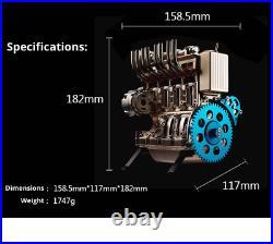 4 Cylinder Full Metal Car Engine Assembly Kit Model Toys for Adult