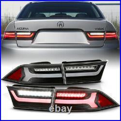 4PCS Built-In Resistor Full LED Neon Tube Tail Light Black For 04-08 Acura TSX