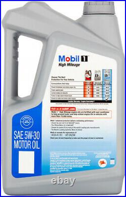 5 Qt Mobil 1 5W-30 High Mileage Full Synthetic Motor Oil Engine Life Anti Wear