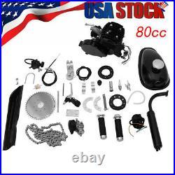 80CC Bike 2 Stroke Bicycle Motorized Petrol Gas Motor Engine Kit Full Set BLACK