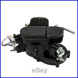 Black 2 Stroke 80cc Gas Bike Full Engine Motor Kit Motorized Bicycle Black pipe