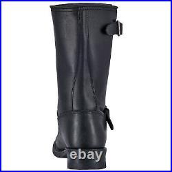 Dingo Rob Mens Engineer Western Cowboy Boots Full Grain Leather Round Toe Black