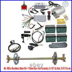 Full Kit 48v 1800w Electric Brushless Motor + Quad Go Kart Rear Axle Assembly