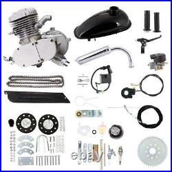 Silver 80cc Bike Bicycle Motorized 2 Stroke Petrol Gas Motor Engine Kit Full Set